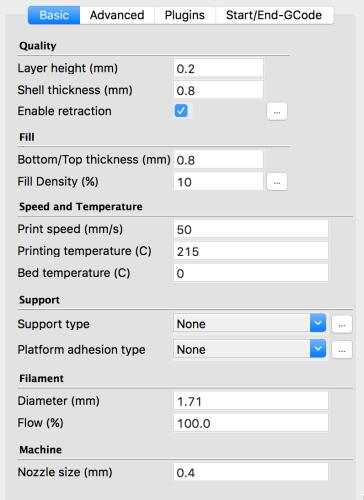 Cura settings for Monoprice select mini V2